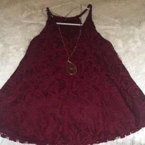 Burgundy lace top.